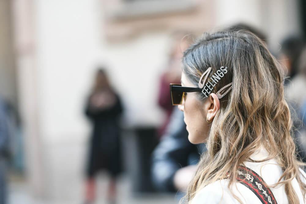 Woman wearing hair ornamentation