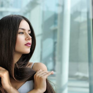 Woman with thick straight hair