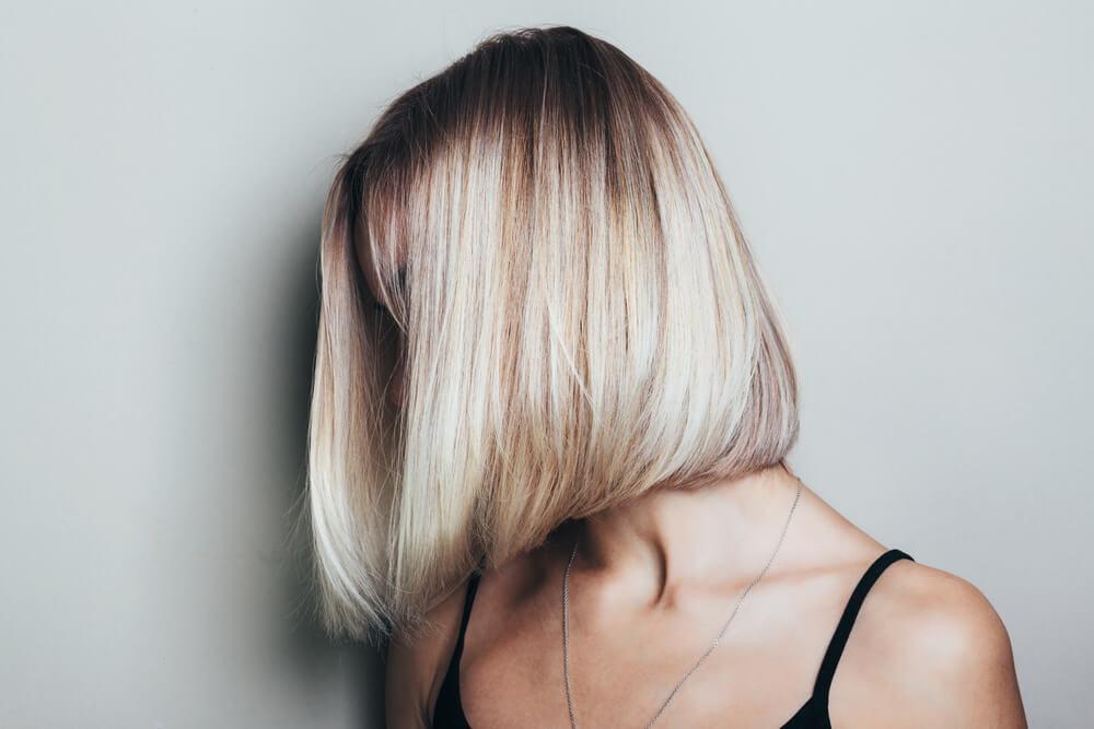 Woman with bob haircut