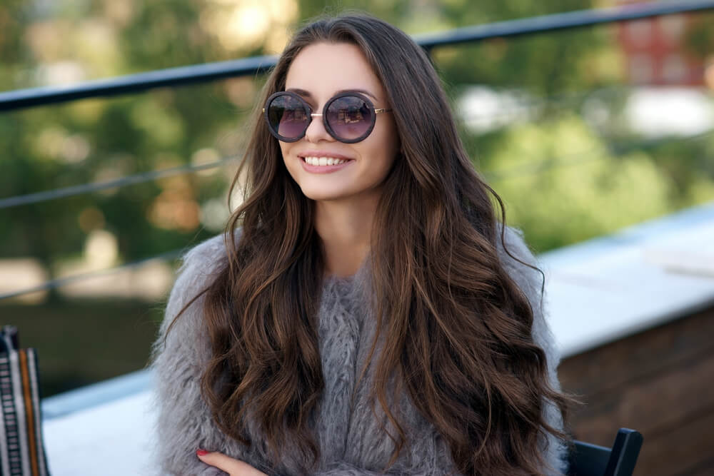Woman with long thick hair