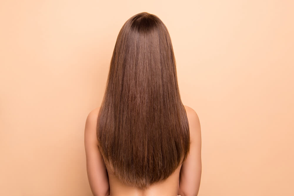 Thick straight hair in v cut