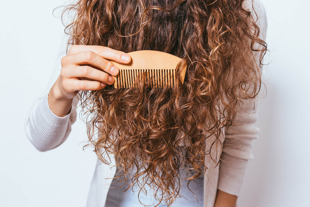 Woman with hair tangles