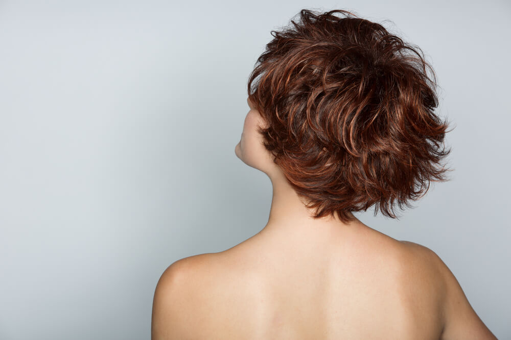 Woman with pixie cut hair
