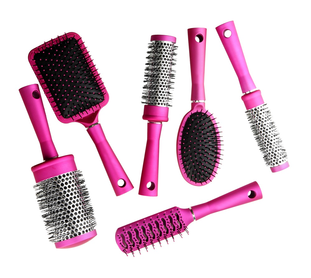 assorted pink brushes