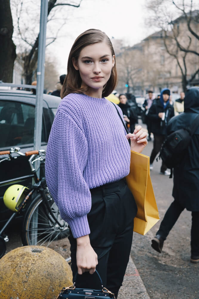 Stylish woman at Milan Fashion Week Feb 2018