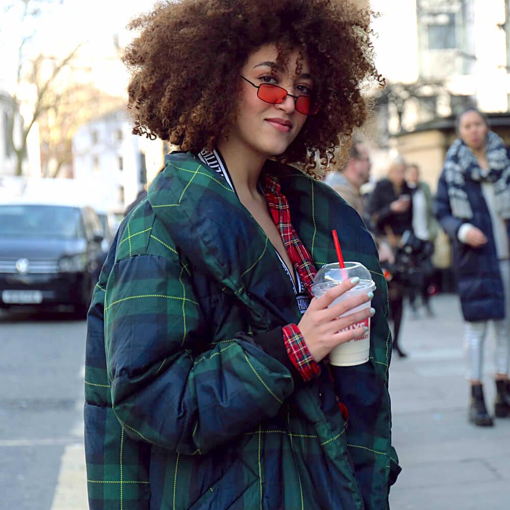 Stylish woman at the London Fashion Week 2018