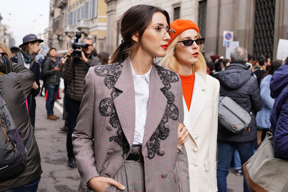 Two stylish women at the Milan Fashion Week Feb 2018