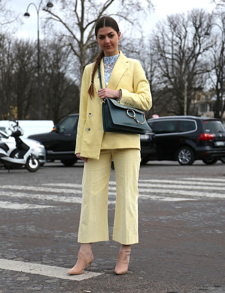 Stylish woman at the Paris Fashion Week March 06 2018