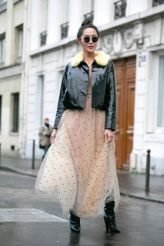 Fashionable woman at the Paris Fashion Week Jan 22 2018