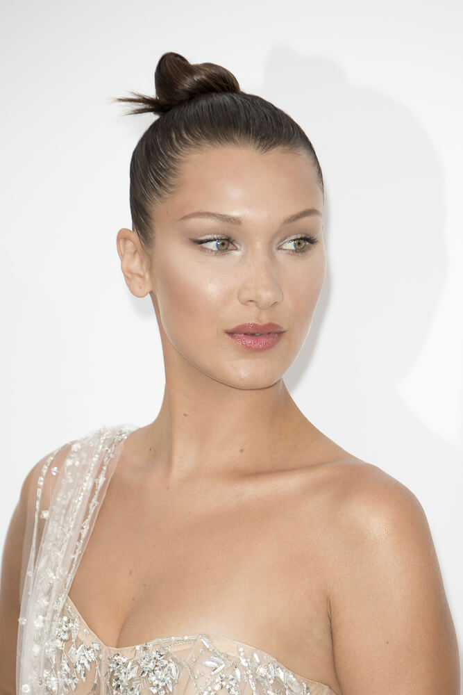 Bella Hadid with a top knot