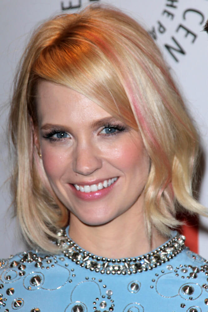 January Jones wearing pastel pink streaks in her hair