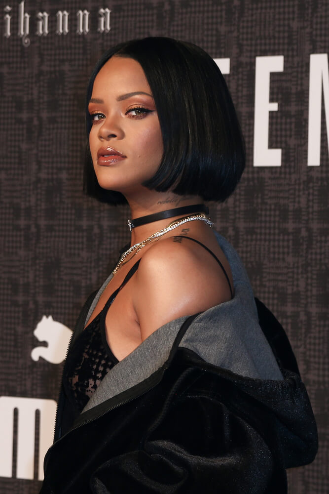 Rihanna with a slick bob