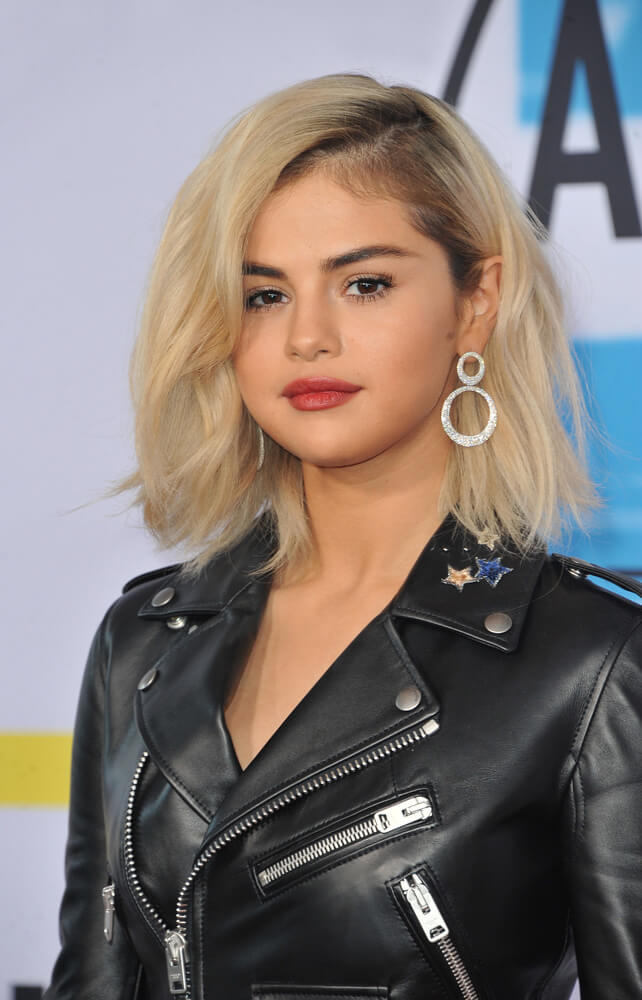 Selena Gomez with a bleached bob
