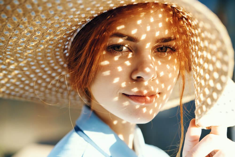 Woman wearing sunhat