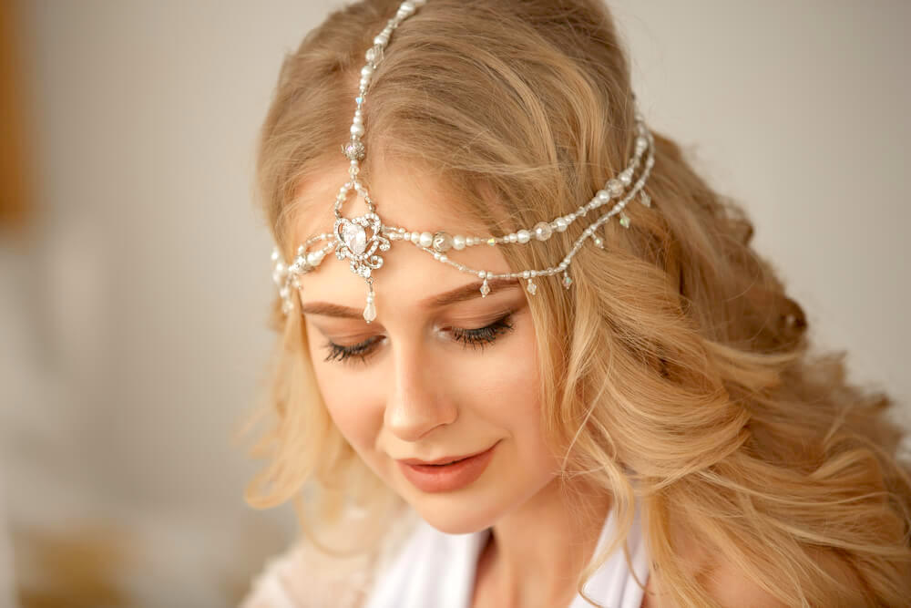 Blonde woman with hair jewelry