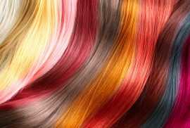 Different colored hair strands