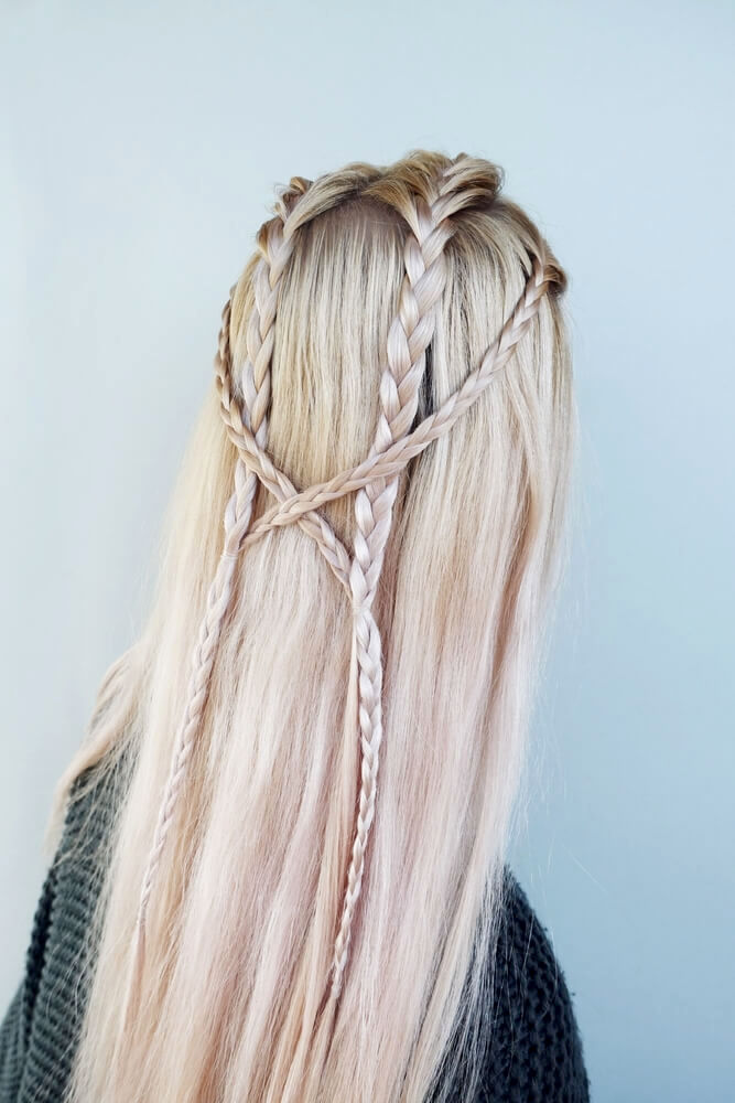 Thin braids on pale blonde hair