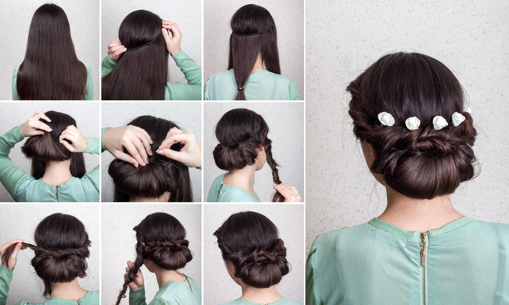 Hairstyle tutorial on twisted tuck and roll chignon