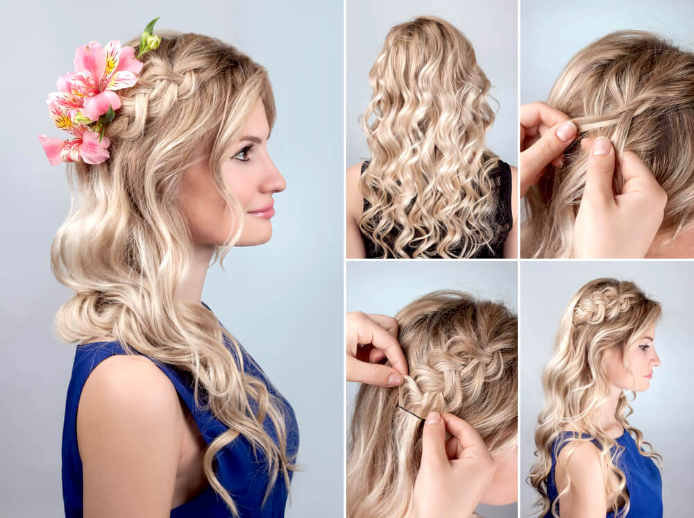 Hairstyle tutorial on wavy hair with subtle braid