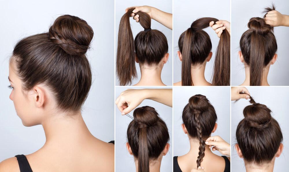 Hairstyle tutorial on bun with a twist