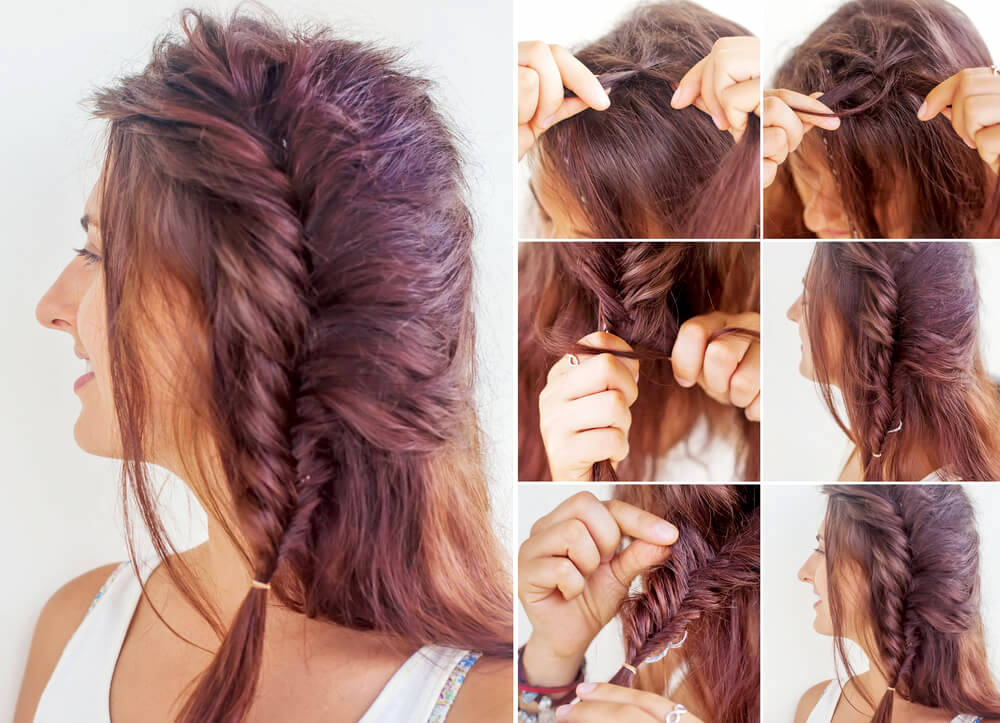 Hairstyle tutorial on one-sided braid