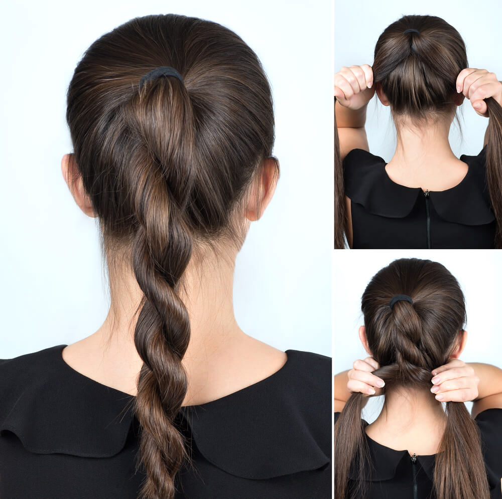 Hairstyle tutorial for twisted ponytail
