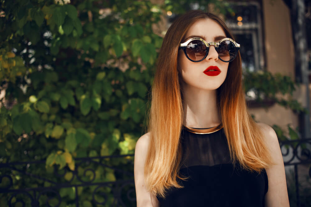 Sleek, straight orange ombre hairstyle