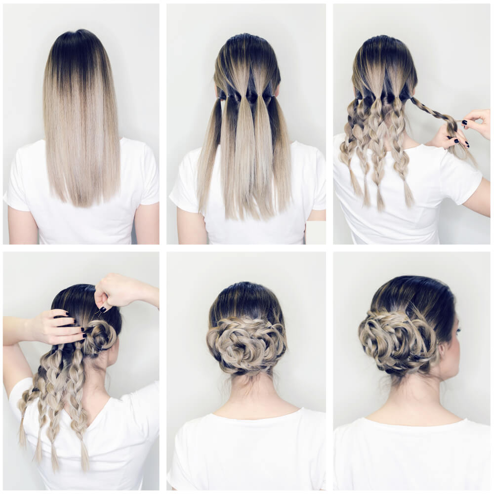 Hairstyle tutorial, gray ombre hairstyle braid twist bun