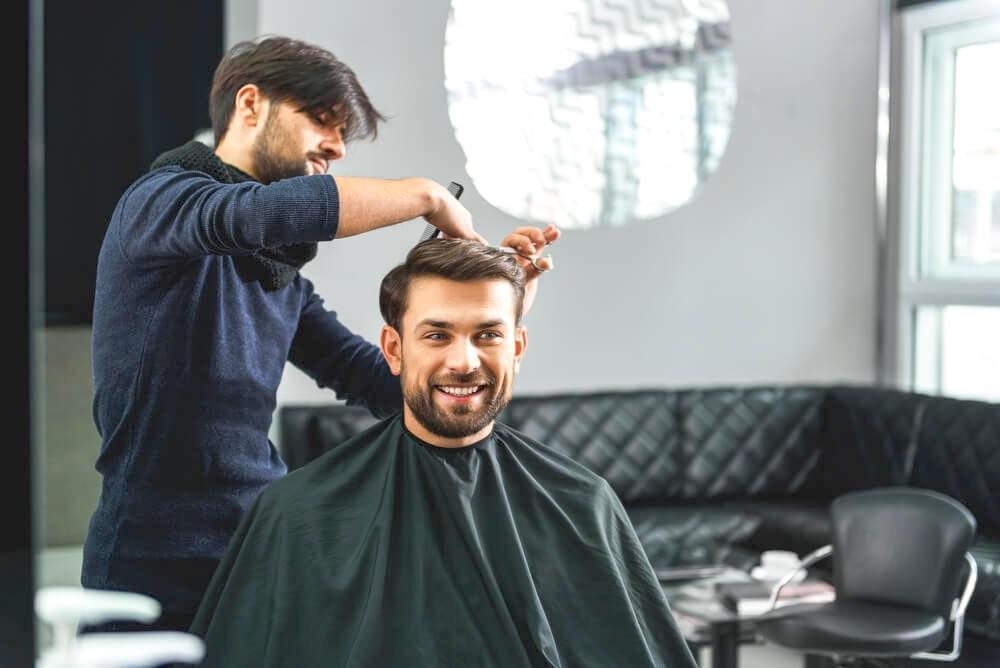 Man getting hair trim